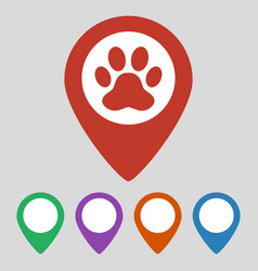 Map pointer with paw print icon on grey background vector