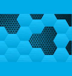 metal dark background with blue steel hexagons vector image