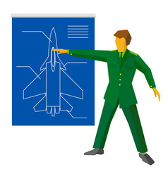 Military man show blueprint with aircraft vector