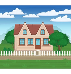 modern house on the nature with a white fence and vector image