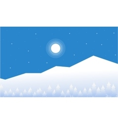 Mountain christmas landscape of flat vector
