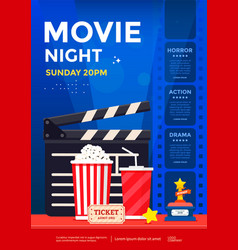 movie night poster design template vector image