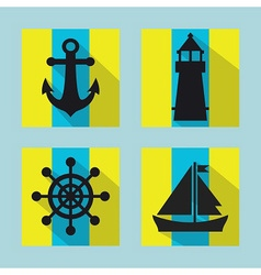 Naval icon set vector