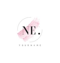 Ne watercolor letter logo design with circular vector