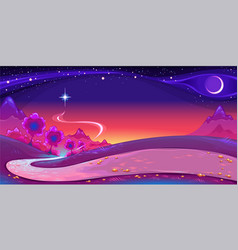 Nocturnal landscape with a big star in sky vector