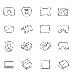 pillows cushions different shaped assortment thin vector image