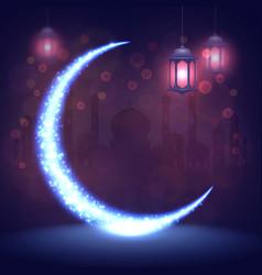 ramadan kareem greeting islamic card eid mubarak vector image