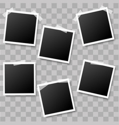 realistic photo frames with tape pieces vector image