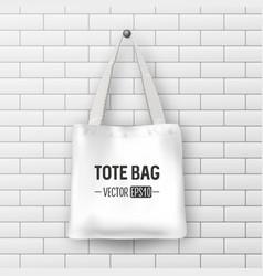 Realistic white textile tote bag closeup vector