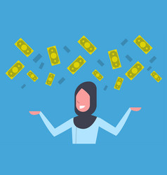 rich arab business woman throwing money up muslim vector image