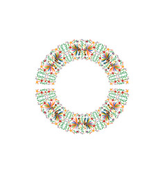 round ethnic mexican embroidery background vector image