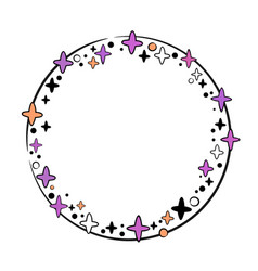 Round festive frame with stars vector