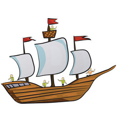 Sailor sailing ship on paper vector