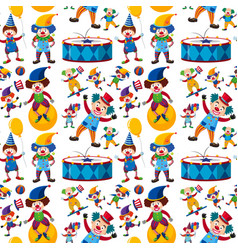 Seamless background with happy clowns vector