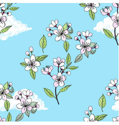 Seamless pattern with sakura vector