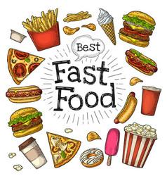 set fast food coffee hamburger pizza hotdog vector image