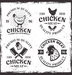 set four chicken meat emblems labels or badges vector image
