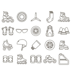set inline roller skates and accessories icons vector image
