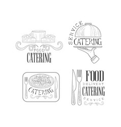 Set of 4 logos for catering services hand vector