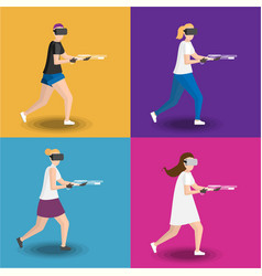 set of four womens gaming in virtual reality vector image