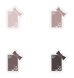 Set of paper stickers on white background mobile vector