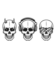 Set of three different skulls elements vector