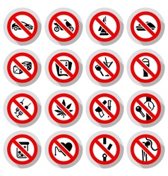 Set Prohibited symbols on paper stickers vector