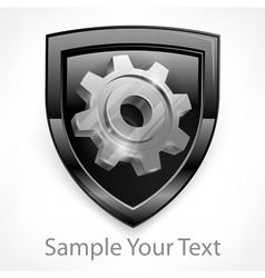 Shield with gear in grey vector image