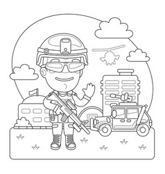 Soldier coloring page vector