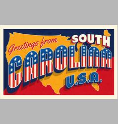south carolina july 4th retro postcard vector image