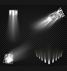 Spotlights stage light white beams glowing vector