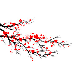 Spring blooming red hearts branch vector