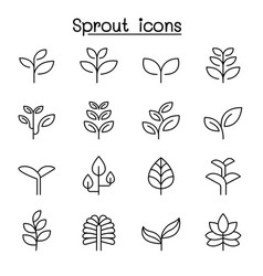 sprout icon set in thin line style vector image