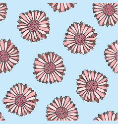 summer floral pattern with doodle pink flowers vector image