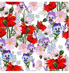 summer spring wild flowers pattern vector image