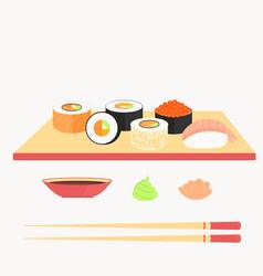 sushi set rolls with salmon nigiri with shrimp vector image