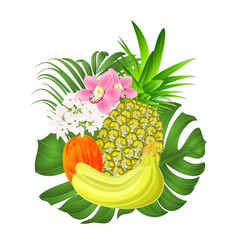 Tropical fruit pineapple and banana and orchids vector