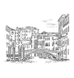 venice cityscape hand drawing vector image