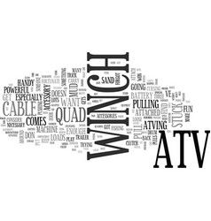 What to know about an atv winch text word cloud vector