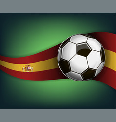 with soccer ball and flag of spain vector image