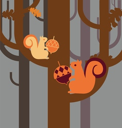 wood squirrel with an acorn vector image