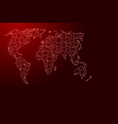 World map from red pattern from composed puzzles vector