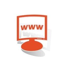 WWW monitor sticker orange vector