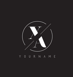 Xa letter logo with cutted and intersected design vector
