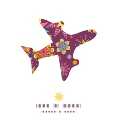 colorful stars airplane silhouette pattern frame vector image vector image