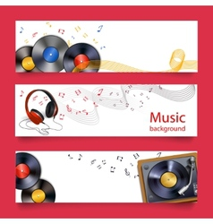Vinyl record music banners vector image