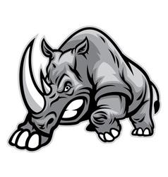 Angry rhino ready to ram vector
