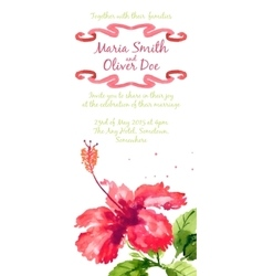background with red watercolor hibiscus vector image