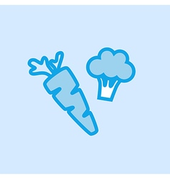 Carrot Broccoli Vegetable Icon Simple Blue vector image