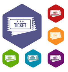 circus show tickets icons set vector image